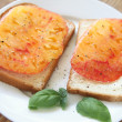 Stock Photo: Sandwich of fresh heirloom tomato