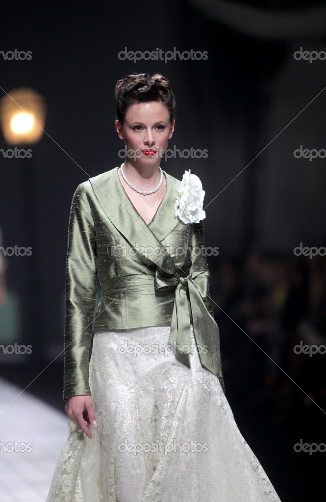 ZAGREB, CROATIA - MARCH 17: Fashion model wears clothes made by Ivica Skoko on &quot;Dove FASHION.HR&quot; show on March 17, 2012 in Zagreb, Croatia.  Stock Photo #10055673