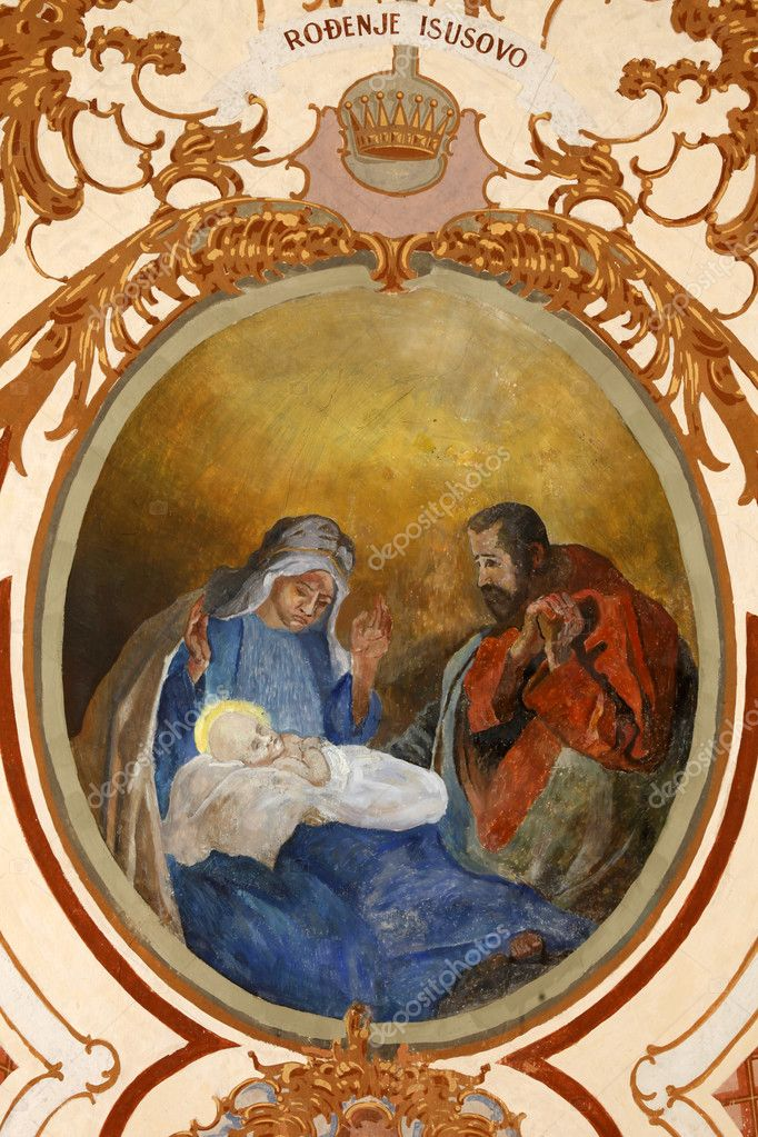 Nativity Scene, fresco painting — Stock Photo #10206397