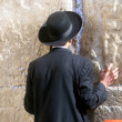 Jewish men pray at the western wall — Stock Photo