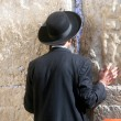 Jewish men pray at the western wall - Stock Photo