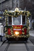 Christmas tram — Stock Photo
