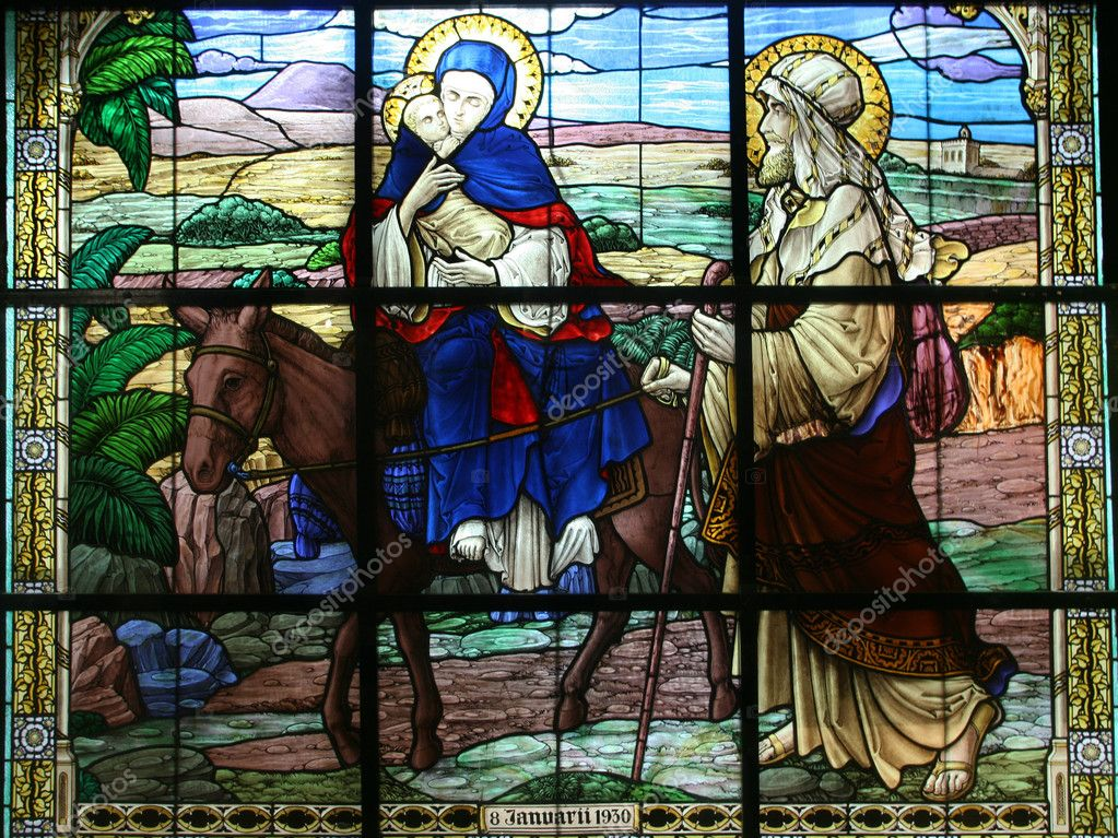 Flight into Egypt, stained glass  — Stock Photo #10524401
