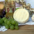 Wine, cheese and grapes — Stok fotoğraf