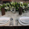 Beautiful table set for wedding — Stock Photo