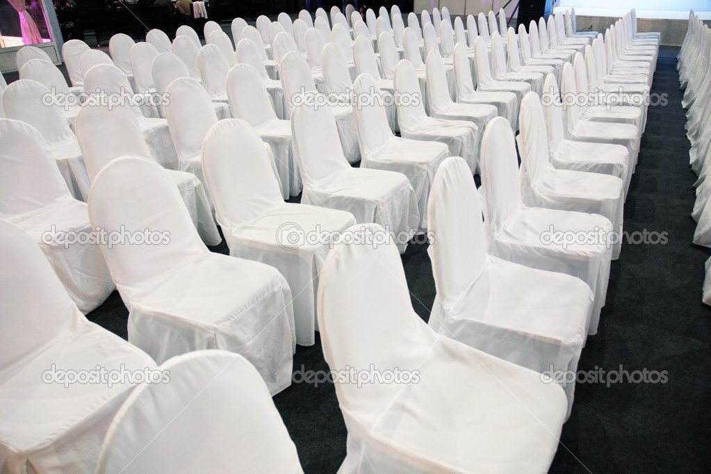 Rows of white chairs  Stock Photo #9186087