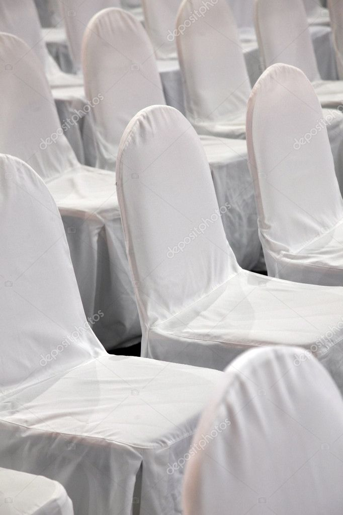 Rows of white chairs  Stock Photo #9186126