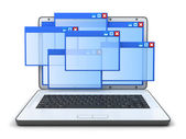 Laptop and windows — Stock Photo