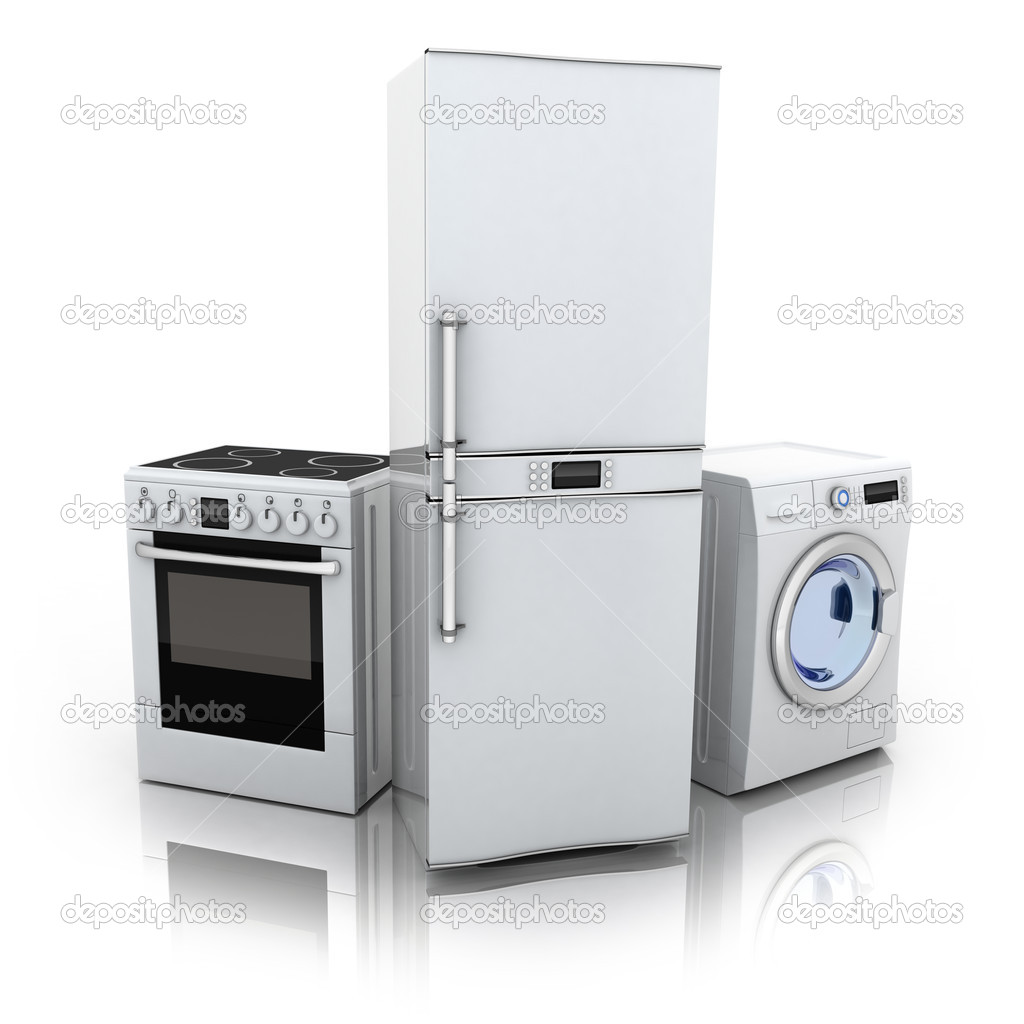 Consumer electronics.Fridge,washer and electric-cooker (done in 3d) — Stock Photo #8762489