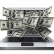 Stock Photo: Money and laptop