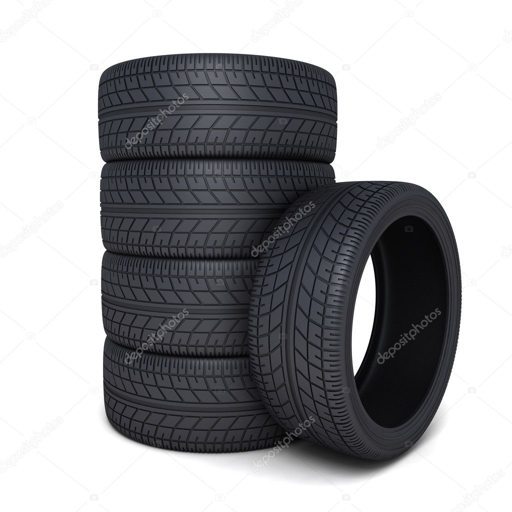 Tire car on white background (done 3d) — Stock Photo #9349008
