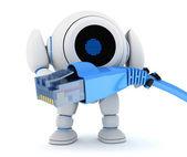 Robot e cavo di rete — Foto Stock
