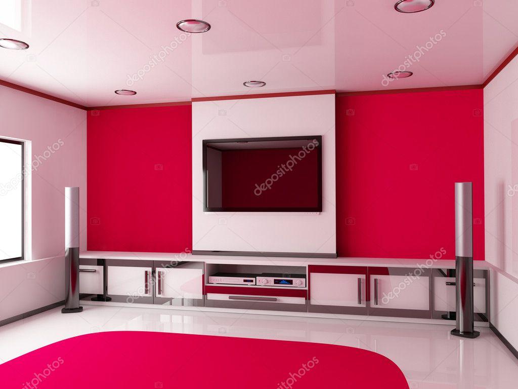 Modern Red Room Stock Photo Vladru 9811786
