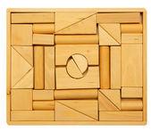Puzzle of wooden blocks — Stock Photo