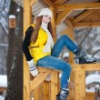 图库照片: Young woman outdoor in winter