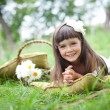 Beautiful girl outside in a park — Stockfoto #8545693