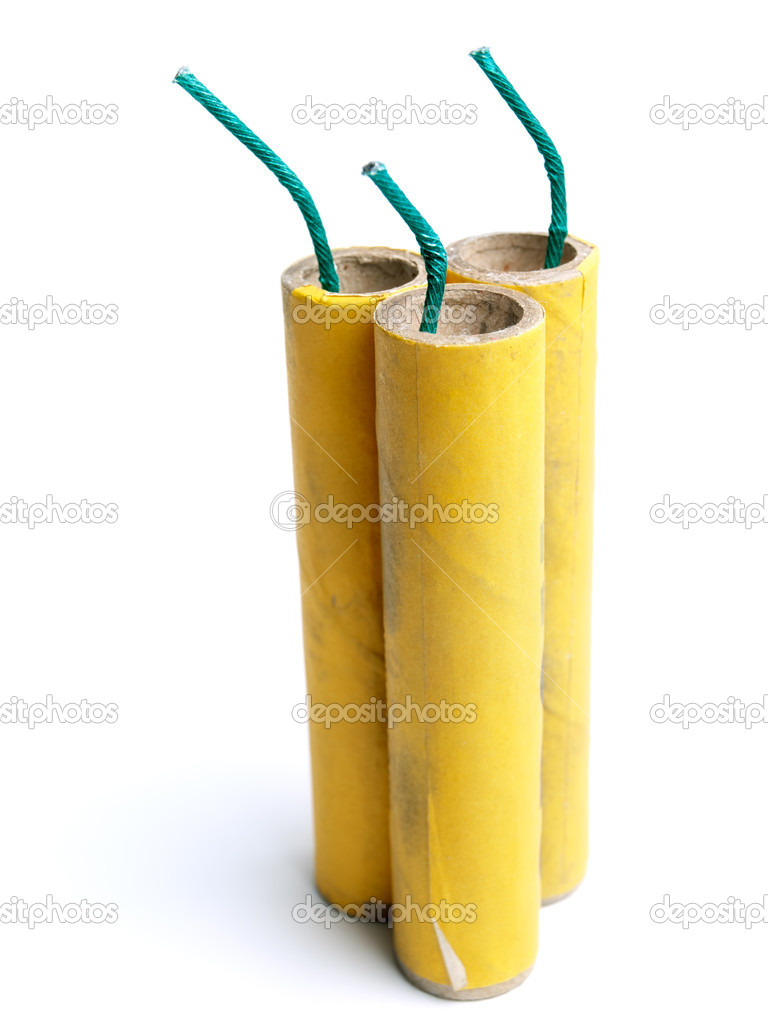 Three yellow firecrackers on a white background. — Stock Photo #8330340