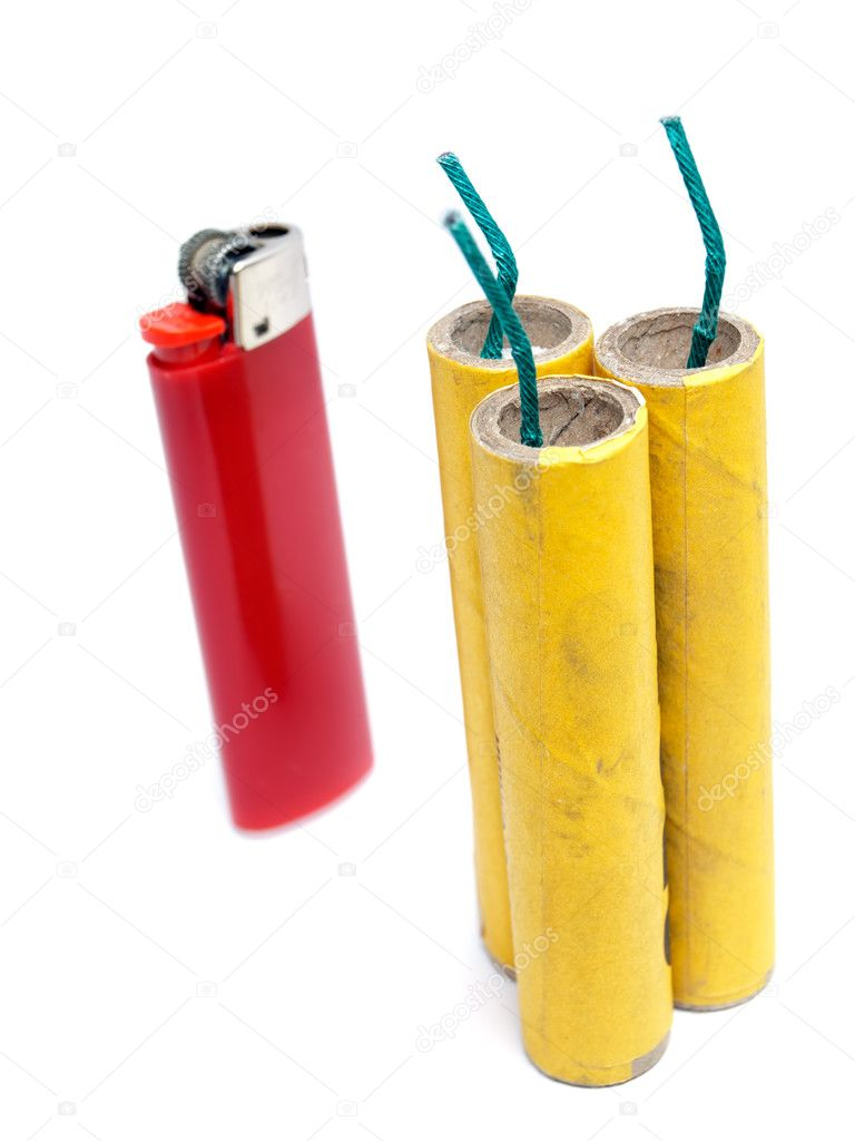 Three firecrackers and lighter on a white background. — Foto Stock #8426248