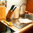 Kitchen in use — Stock Photo