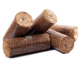 Wooden briquettes — Stock Photo