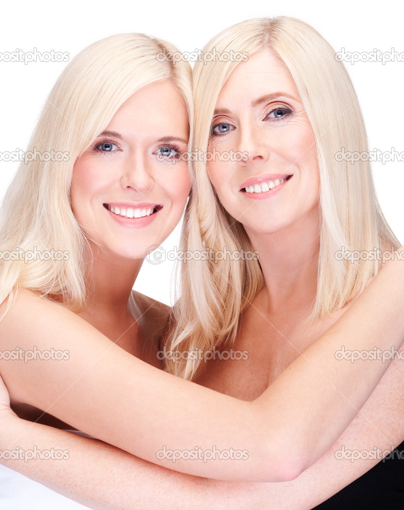 Mother and daughter- natural beauty, over white — Stock Photo #8515427