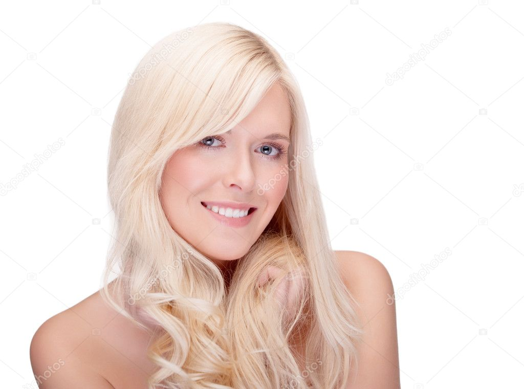 Close-up studio portrait of young blond smiling - space for copy — Stock Photo #8515429