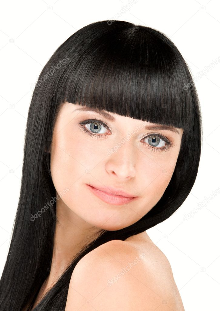 Close-up beauty portrait of young caucasian woman with perfect haircut  Stock Photo #8781941