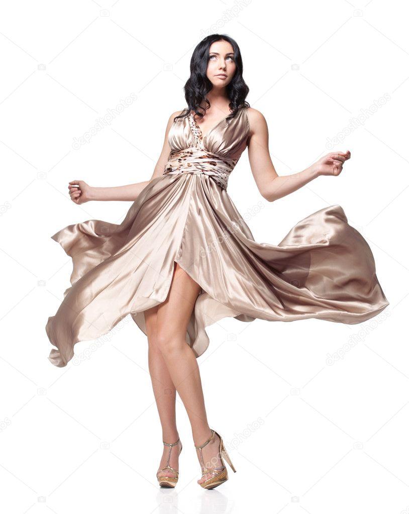Снял с девушки шелковое платье 2 фотография
