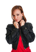 Pretty Young Woman In Leather Jacket — Stock Photo