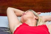 Pretty Blonde Woman Sleeping — Stock Photo