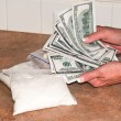 Fake Money and Fake Cocaine — Stock Photo