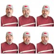 Stock Photo: Six Different Expressions On Mature Man