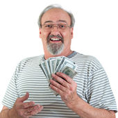 Happy Man With Hand Full Of Money — Stock Photo