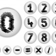 Alphabet Scribble Numbers in shiny White Buttons — Stock Vector