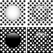 Set of Four Glass Circle Black and White Dots — Stock Vector #10290936