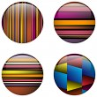 Glass Circle Button Colorful Stripes - Stock Vector