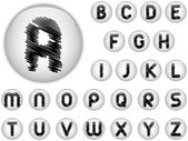Alphabet Scribble Letters in shiny White Buttons — Stock Vector