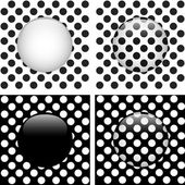 Set of Four Glass Circle Black and White Dots — Stock Vector