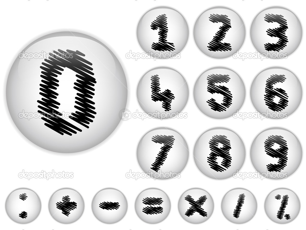 Vector - Alphabet Scribble Numbers in shiny White Buttons — Stock Vector #10290821