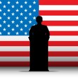 United States of America USA Speech Tribune Silhouette with Flag — Stockvector #10371347