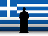 Greece Speech Tribune Silhouette with Flag Background — Stock Vector
