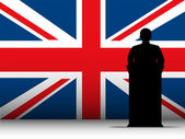 United Kingdom Speech Tribune Silhouette with Flag Background — Stock Vector
