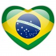 Brazil Flag Heart Glossy Button — Stock Vector
