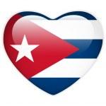 Cuba Flag Heart Glossy Button — Stock Vector