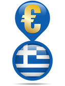 Flag Button Greece Euro Crisis — Stock Vector
