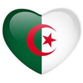 Bandera de argelia botón brillante del corazón — Vector de stock