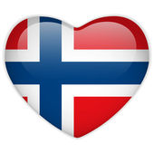 Norway Flag Heart Glossy Button — Stock Vector
