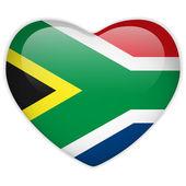 Botão de brilhante coração de bandeira da África do Sul — Vetor de Stock