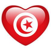 Turkey Flag Heart Glossy Button — Vetor de Stock