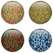 Glass Circle Button Colorful Dots — Vettoriale Stock
